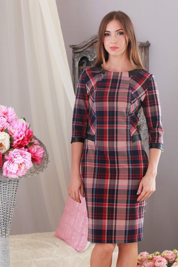 Платье 187 бордовый/беж