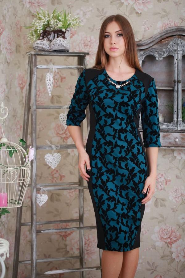 Платье Ажур 142 бутылочный/чёрный