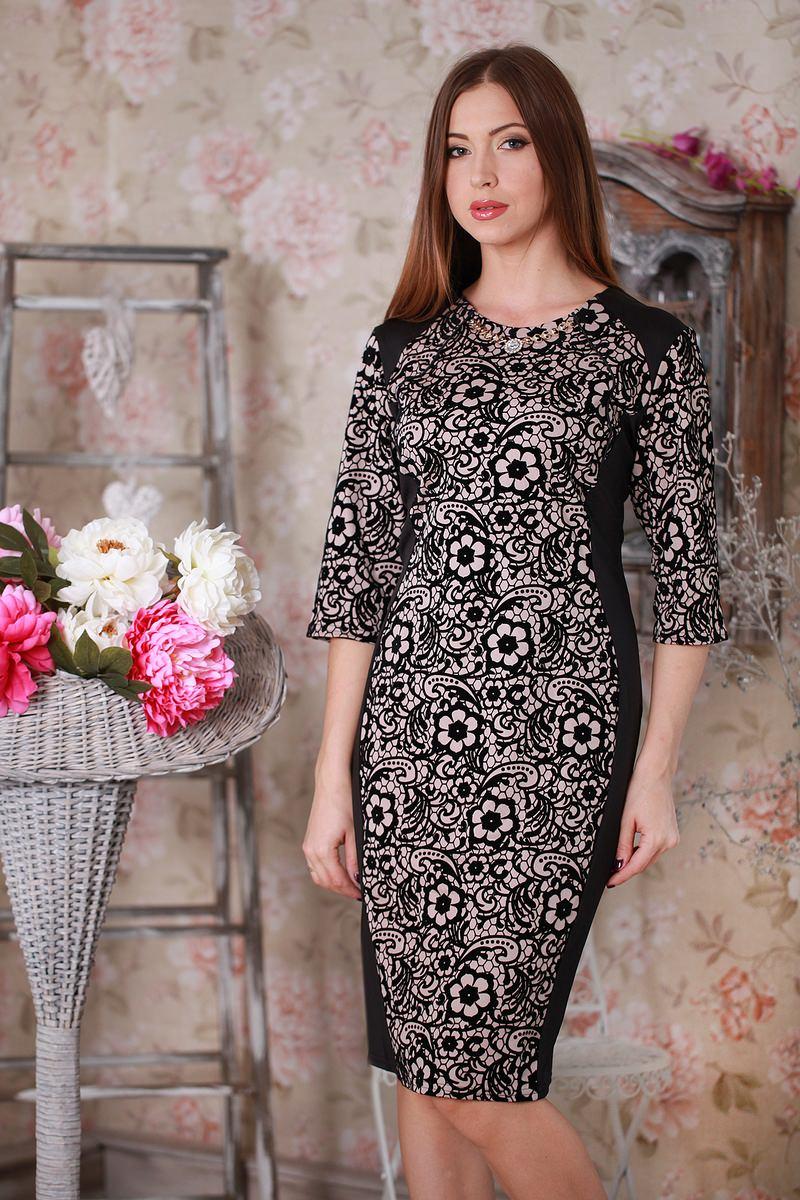 Купить Платье Ажур 142 чёрные цветы беж YM14209 недорого (за 441грн ... cb2e8a1ddaa3a