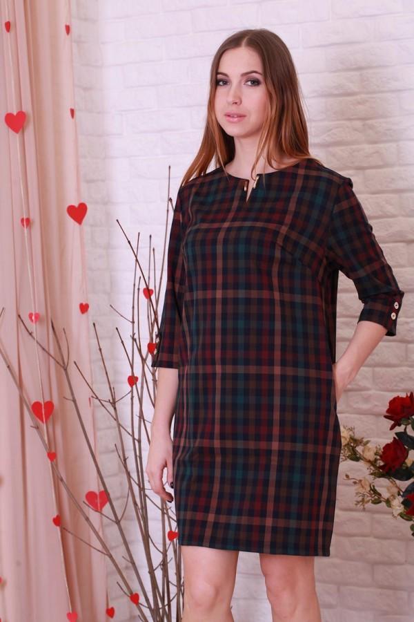 Платье 197 бордовий/зеленая клетка