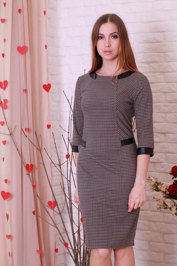Платье 187 коричневый/мелкая клетка