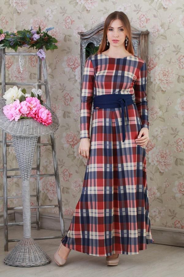 Платье 127 синий/бордовый