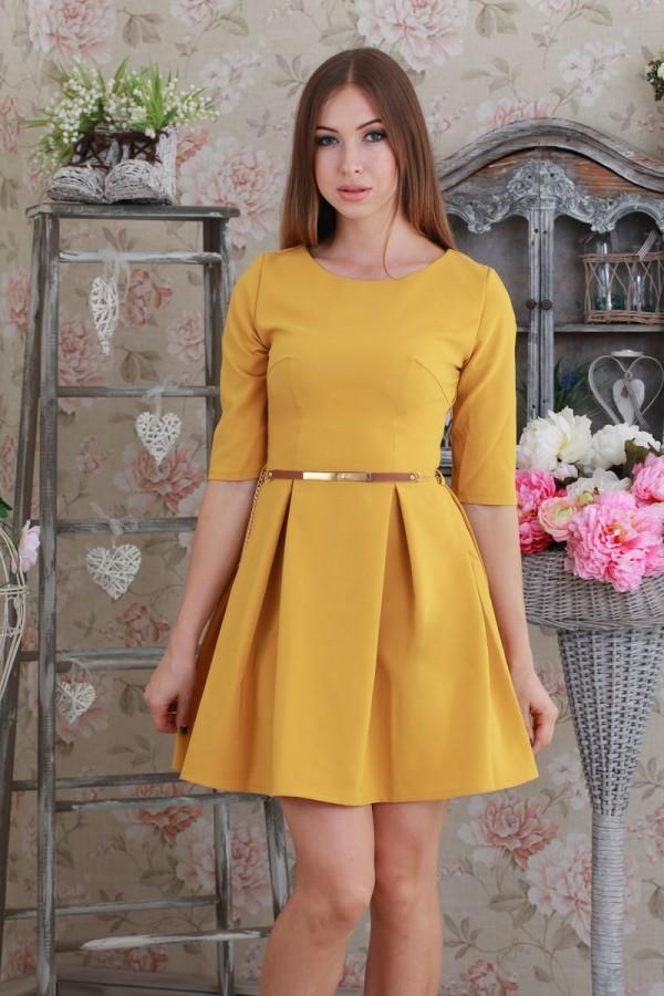 Платье 186 горчица