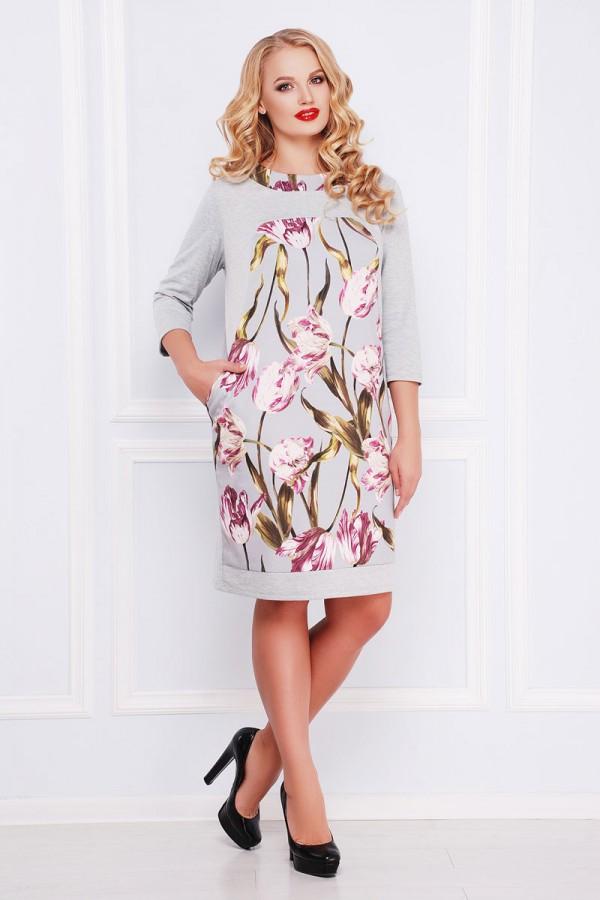 Плаття великого розміру Матільда GL40194 з тюльпанами