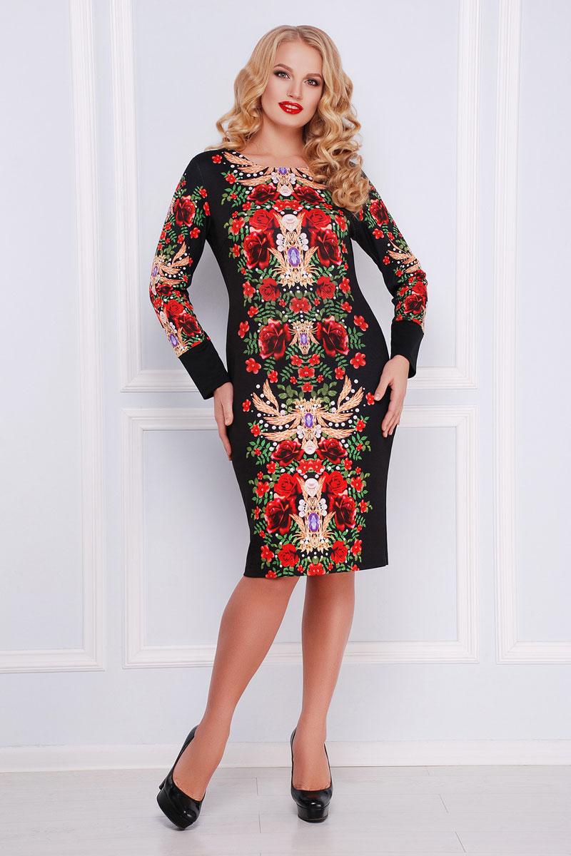 Купити плаття великого розміру 2018 Аліка-Б GL000501 чорне з квітами ... afdcd5f014c92