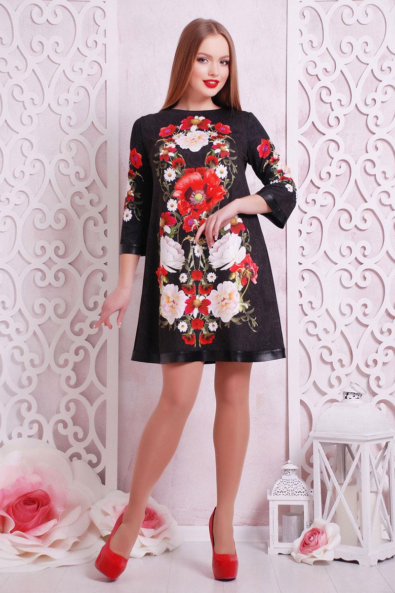 b2ccd306525 Купить черное платье 2018 Тая-3ФК GL002101 с цветочным принтом ...