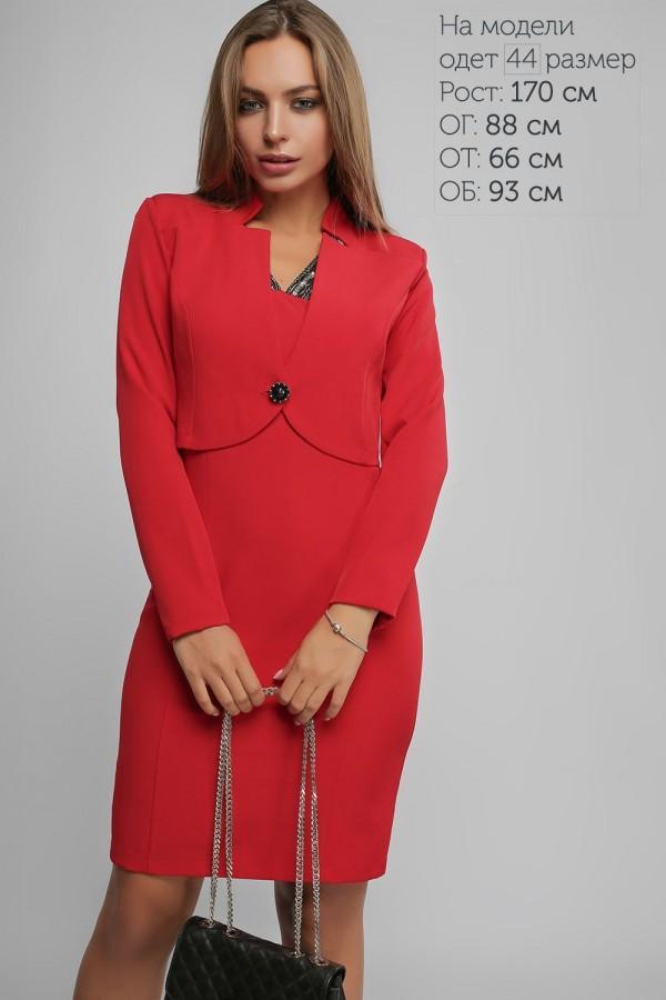 Красное женское платье с болеро 2018 LP43701 Пэрис