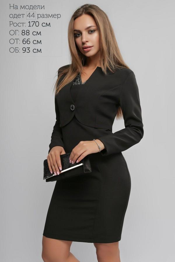Черное нарядное платье с болеро 2018 LP43703 Пэрис