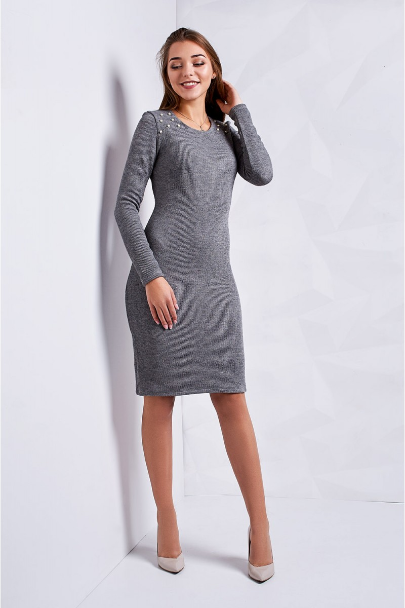 Купити осіннє плаття Меланія сіре ST1538 та з доставкою у Коростень ... fca4e97d0e71b