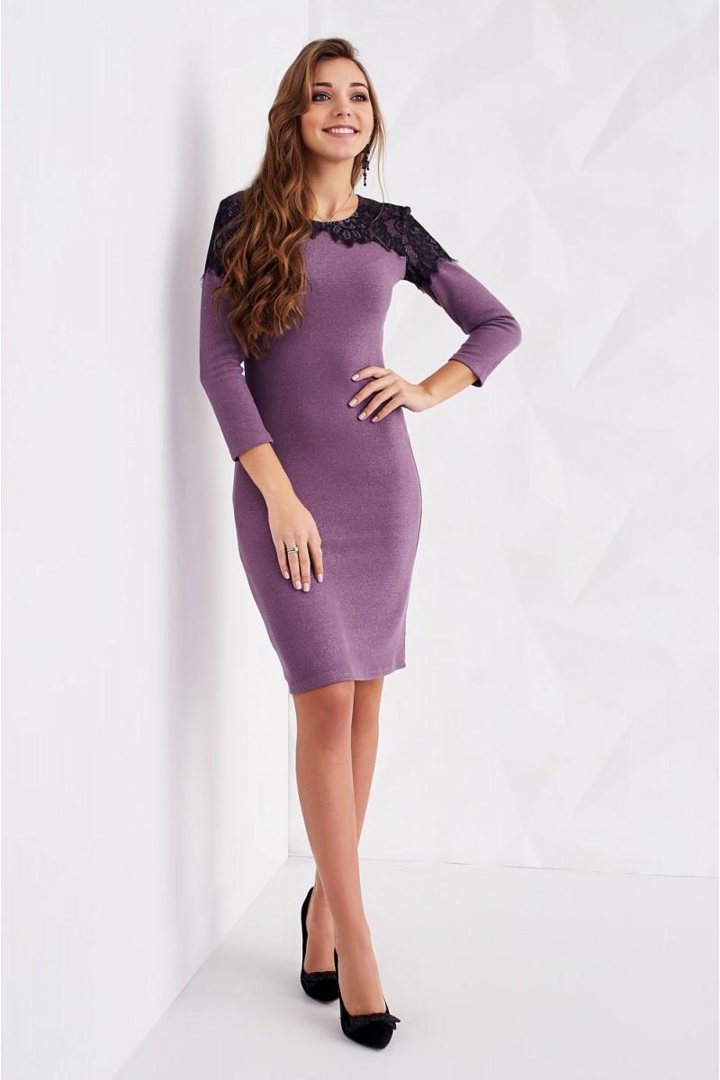 bf819231d61 Купить лиловое трикотажное платье с кружевом ST163801 Афина недорого ...