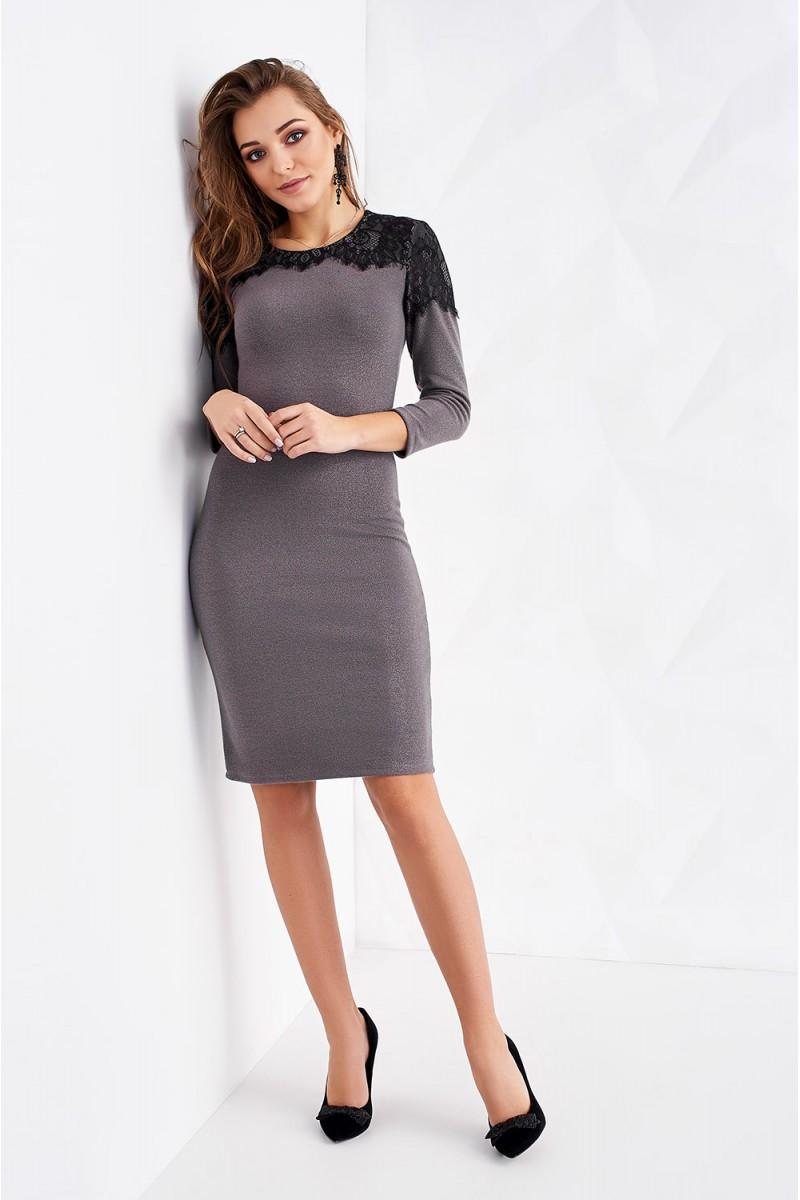 d636727166d Купить оливковое трикотажное платье с кружевом ST163901 Афина ...