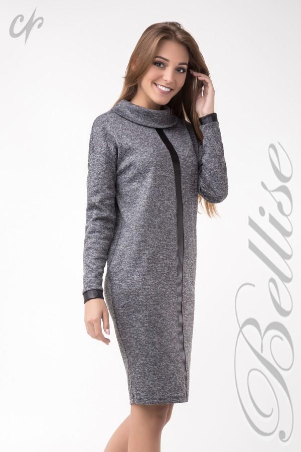 Красиве сіре в'язане плаття TB137601 Bellise з коміром