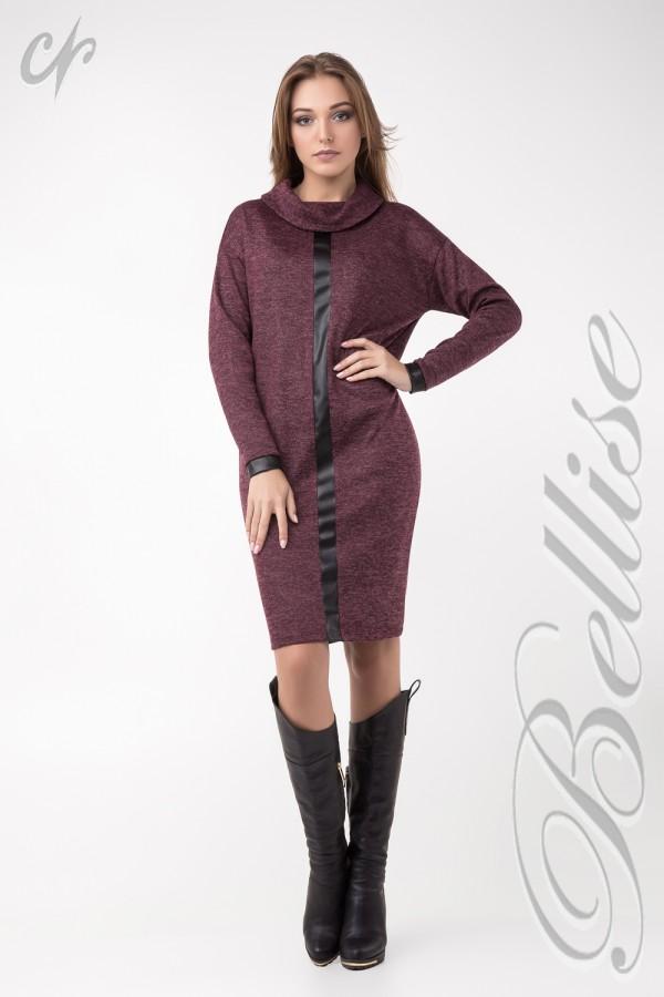 Красиве бордове в'язане плаття TB137602 Bellise з коміром