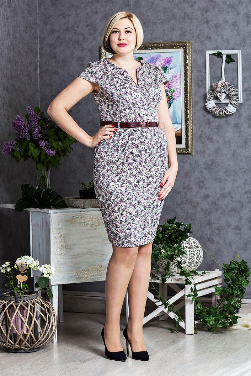 ee236c15aa9 Летнее платье большого размера 289 из стрейч-коттона купить недорого ...