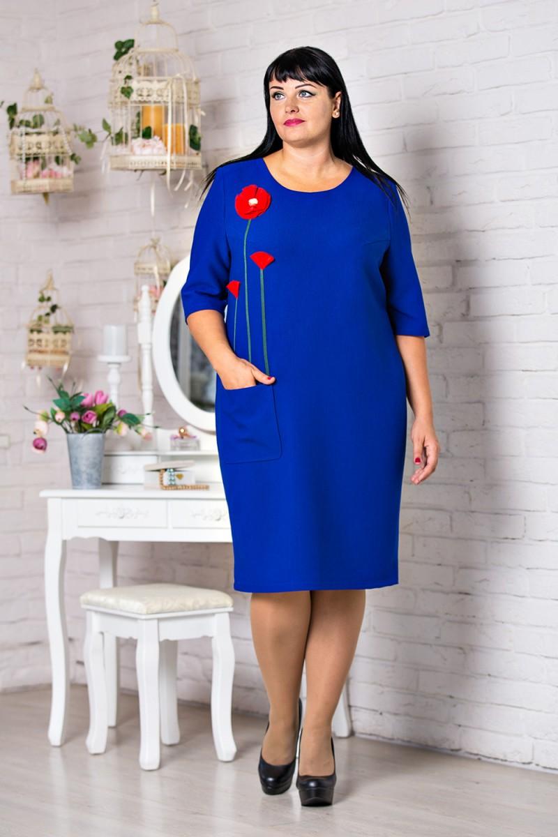 b5caf1bcd1c4678 Купить нарядное платье синего цвета большого размера VN30502 Адэлайн ...