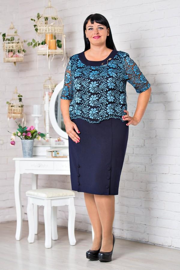 Стильное синее платье большого размера VN30801 Милана