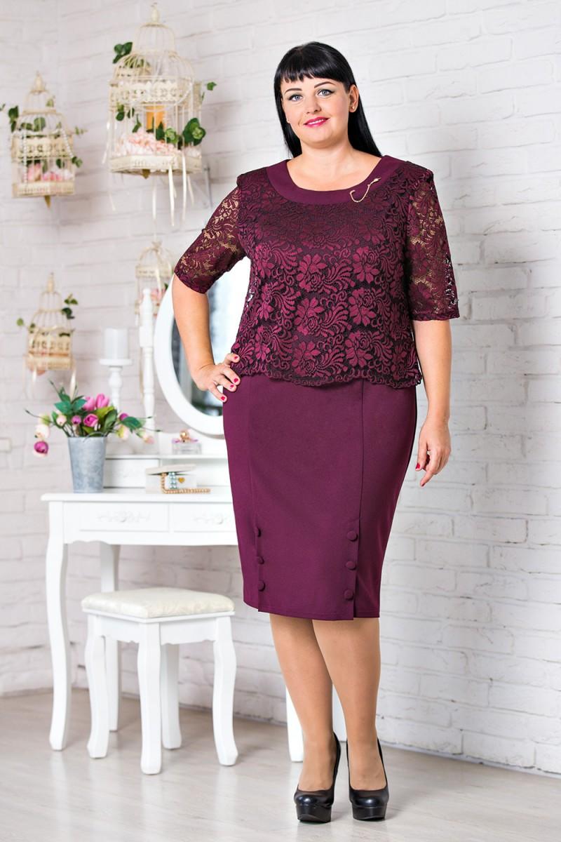 Купити бордове нарядне плаття великого розміру VN30802 Мілана від ... 42543833edba0