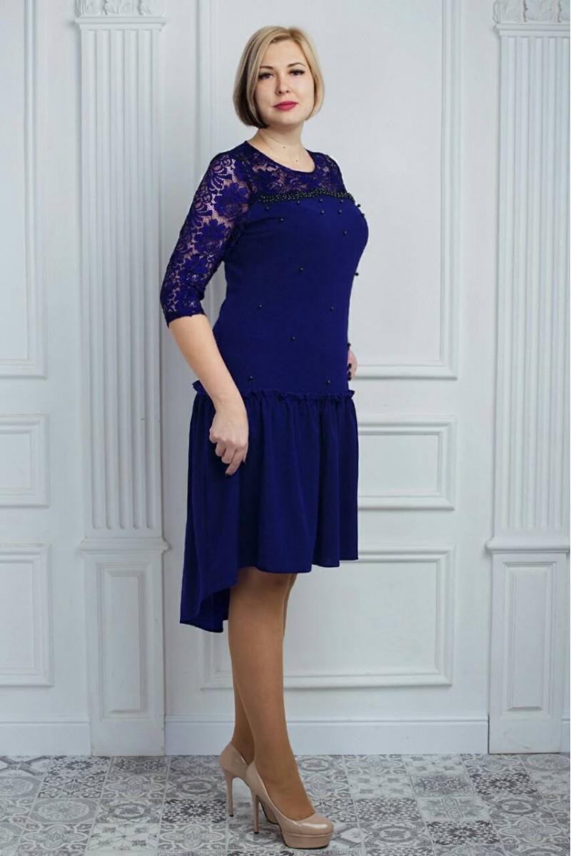 68599a7730d8688 Купить красивое синее платье большого размера VN32401 Илалия ...
