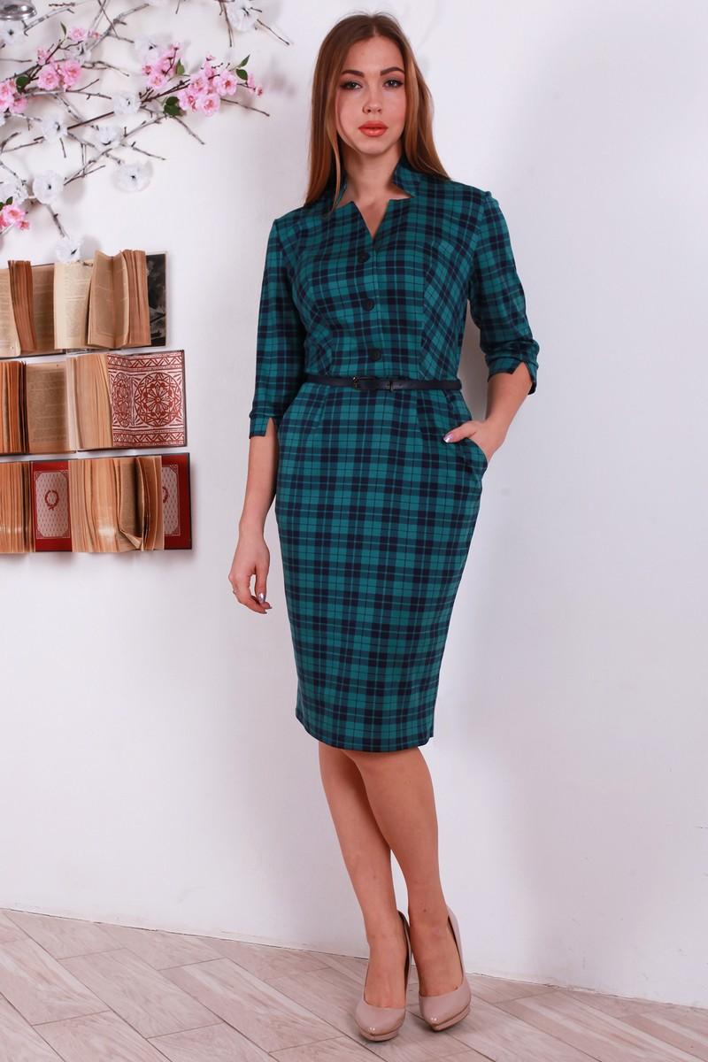 Купити тепле зелене плаття YM18410 в клітинку оптом та в роздріб з ... 9b832da06c88e