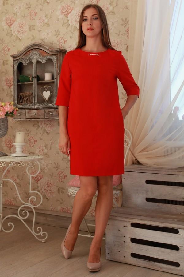 Платье 229 алый трикотаж