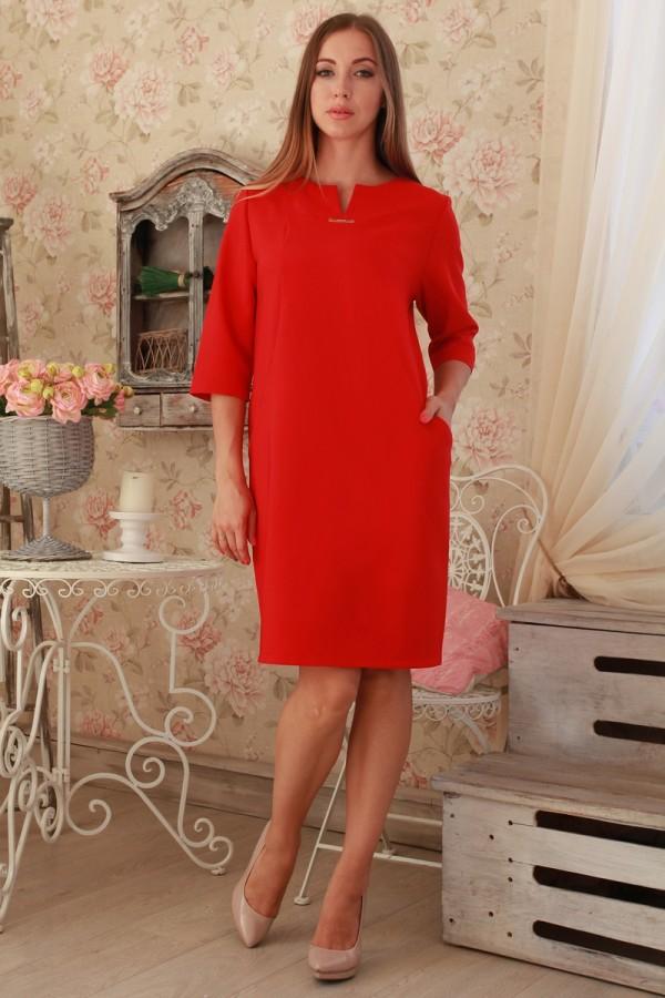 Платье 230 красный трикотаж