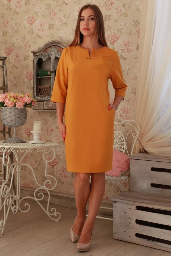 Платье 230 горчица трикотаж