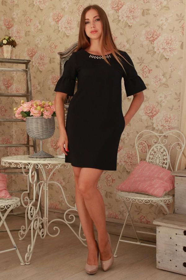 Платье 231 черний трикотаж
