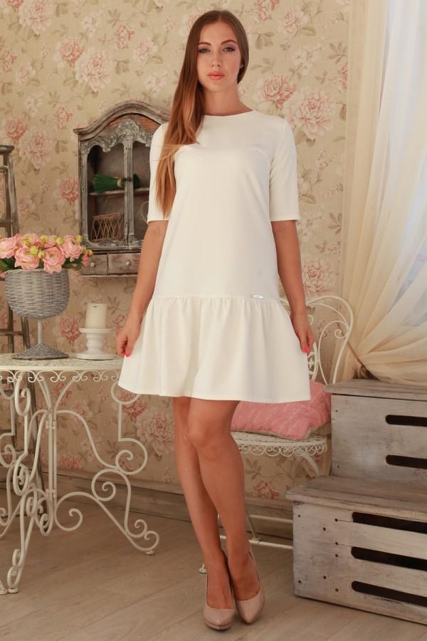 Платье 232 молочный трикотаж
