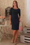 Платье 233 темно-синий горошек