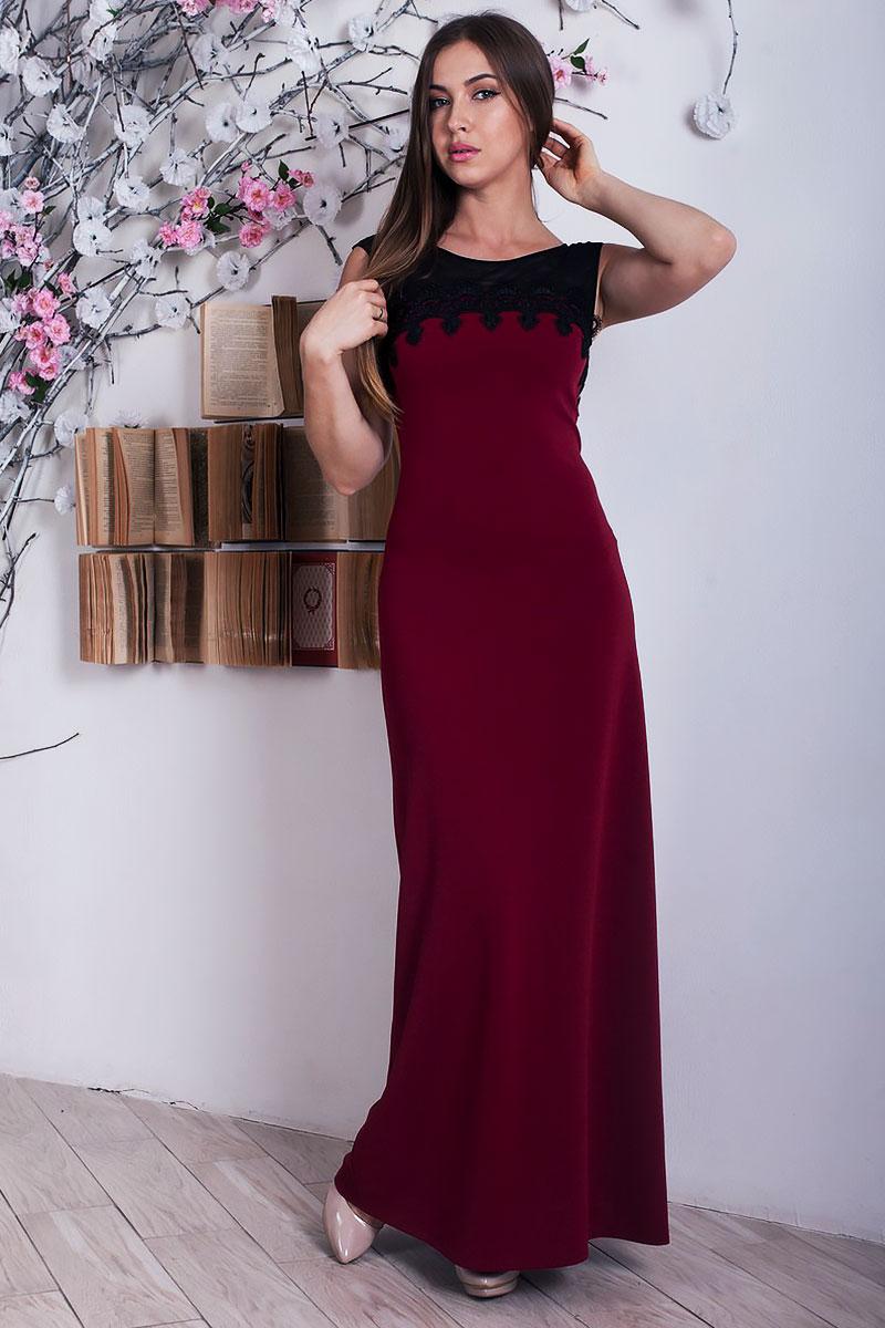 1323da59288 Купити плаття з якісного трикотажу бордового кольору YM28403 ...