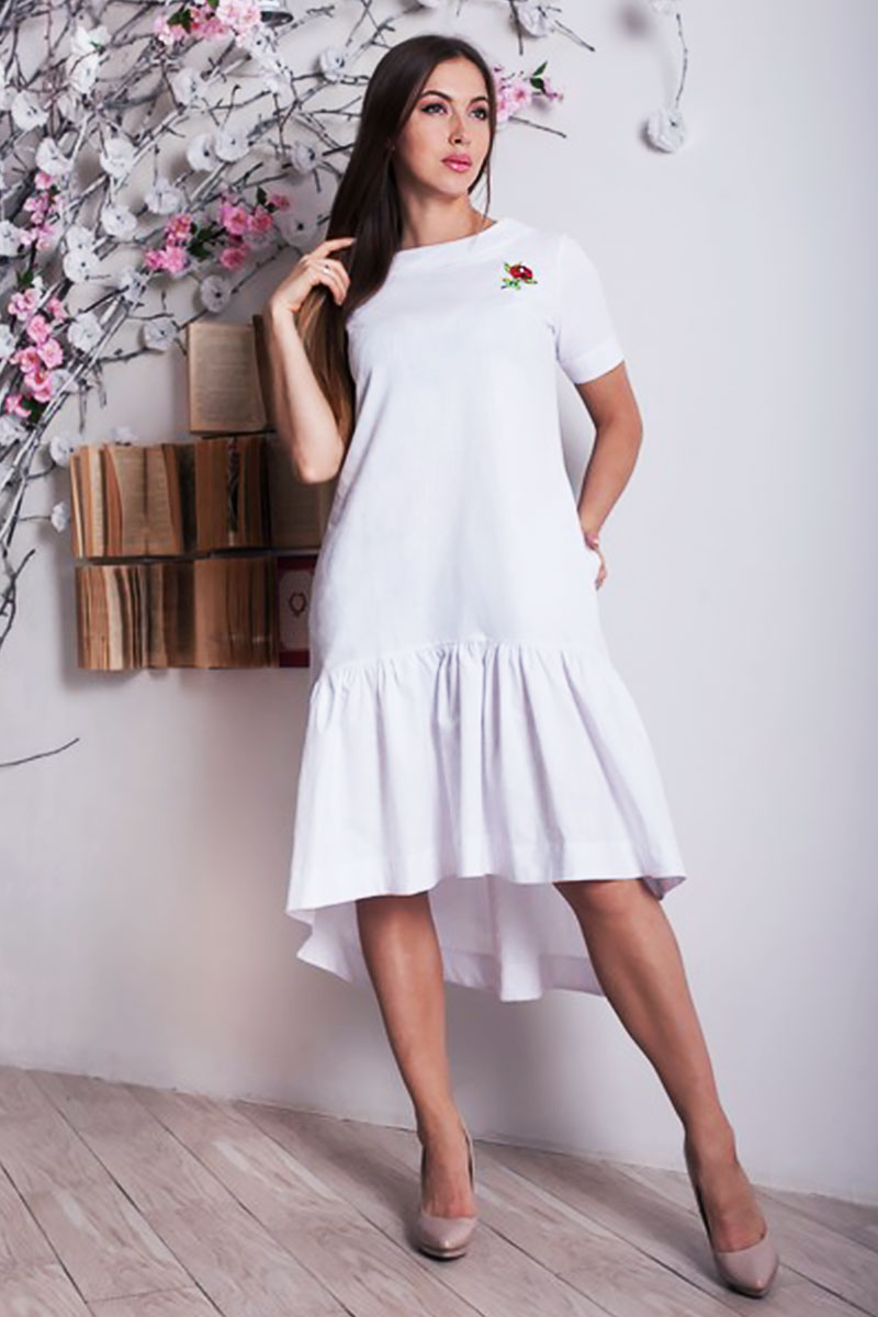 e12f5223e586c8 Купити плаття з льону білого кольору YM28704 недорого оптом в ...