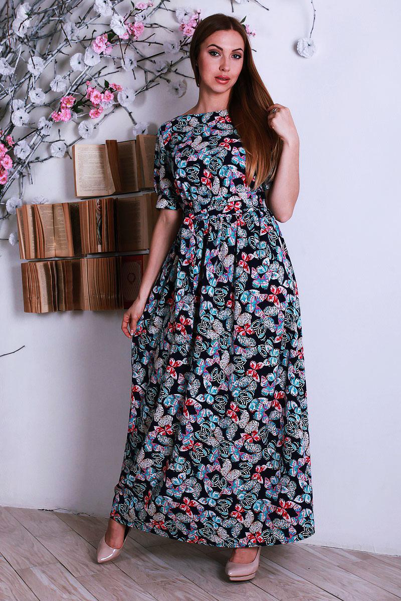 4718d8f81b0937 Купити довге темно-синє плаття YM29102 з метеликами недорого від ...