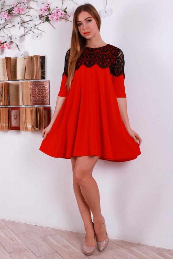 Новогоднее красное платья YM30801 с гипюром