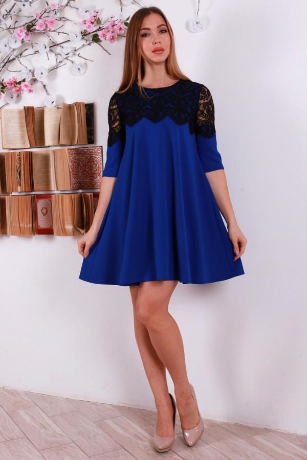 Новогоднее синее платья YM30802 с гипюром