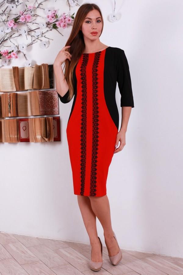 Праздничное красное платья YM30901 с кружевом