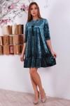 Праздничное зеленое платья YM31103 велюр