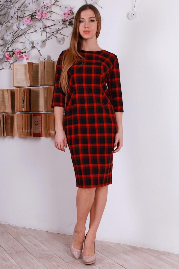 Повседневное красное з черным платья в клетку YM31301