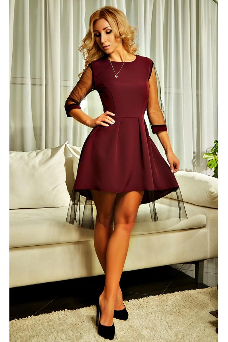 1b9057096e0a40 Купити бордове плаття Амелі AD21401 з сіткою (марсала) від виробника ...