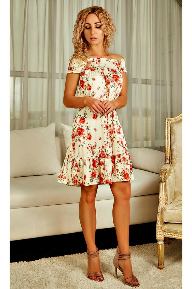 6c7a2b5cdbc4dd Купити літнє плаття Аміра AD22501 кремового кольору від виробника з ...