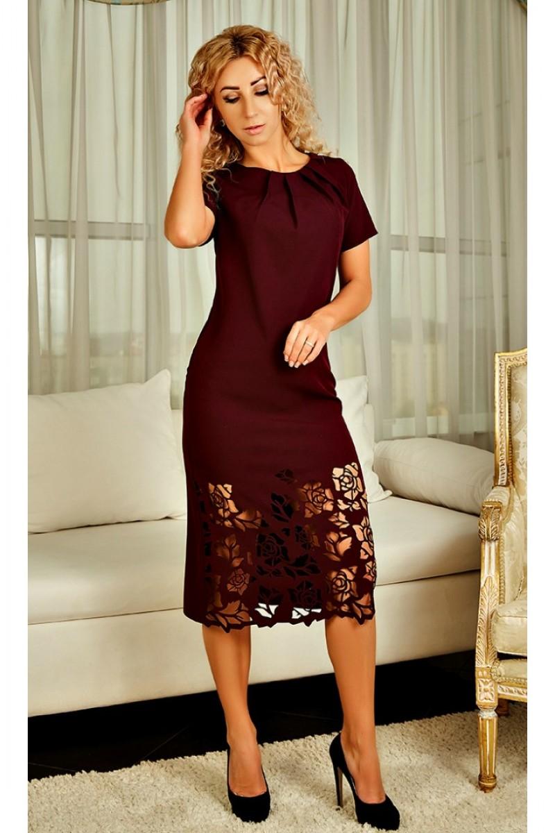 4ff3b9ca1100dd Купити жіноче плаття з перфорацією Джулія AD23002 колір марсала від ...