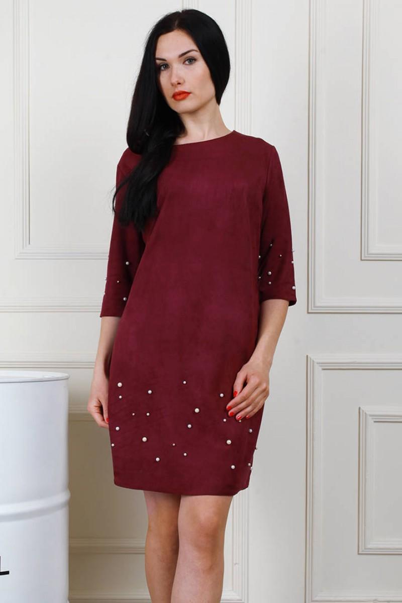 f4413d388ae Купить бордовое платье (марсала) AL66602 большого размера от ...
