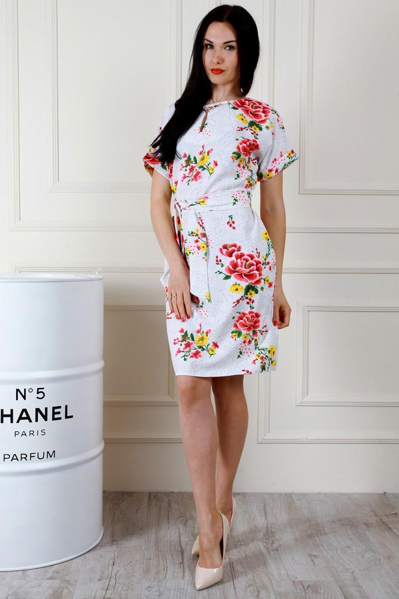 dc536f0e8070e0 Купити весняне біле плаття AL67501 з квітами недорого з доставкою у ...