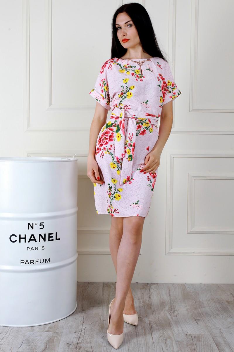 Купити весняне рожеве плаття AL67503 з квітами недорого з доставкою ... 7ffc2280e3828