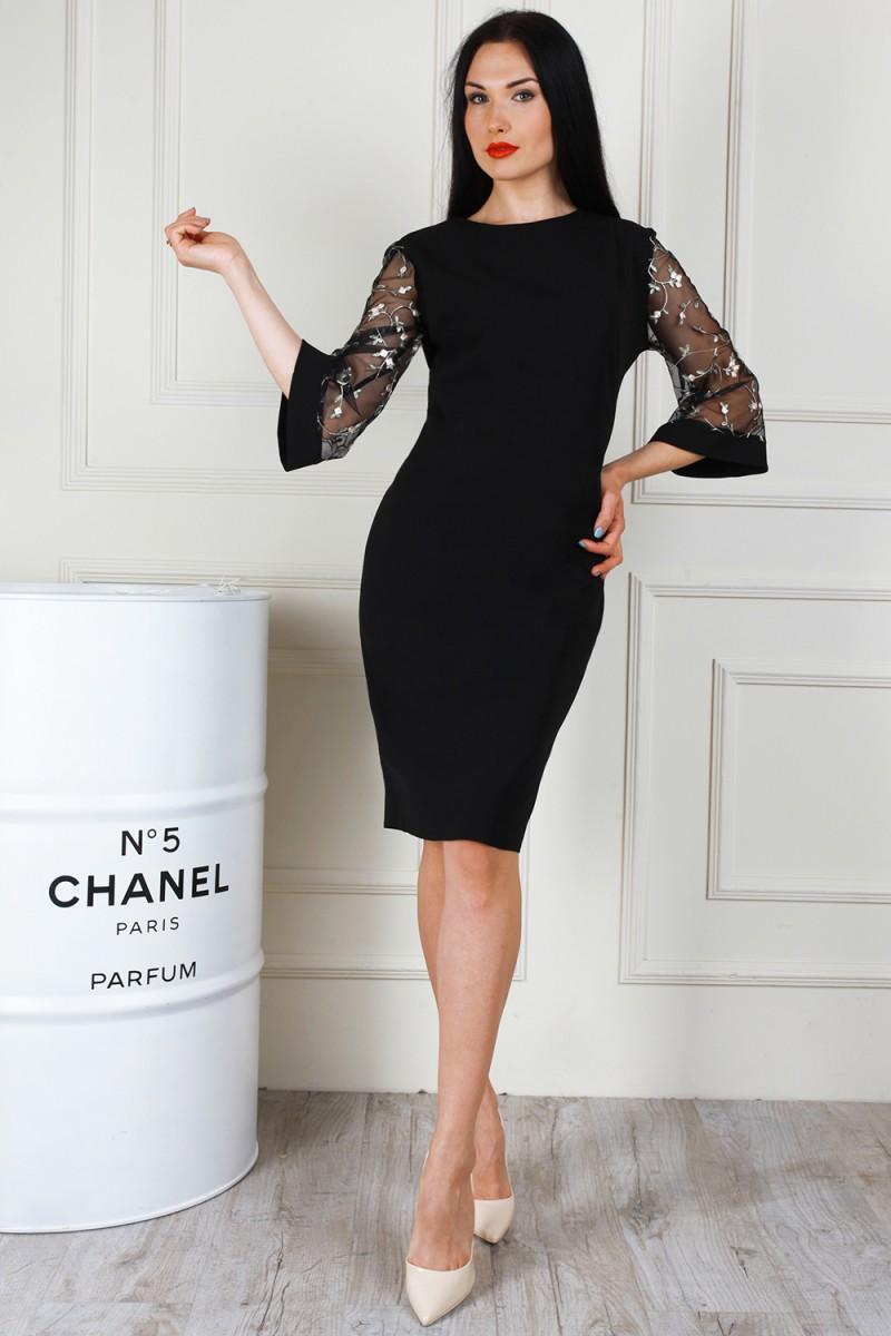 Купити святкове чорне плаття AL68001 з сіткою та вишивкою недорого з ... 2f3f44009e3f8