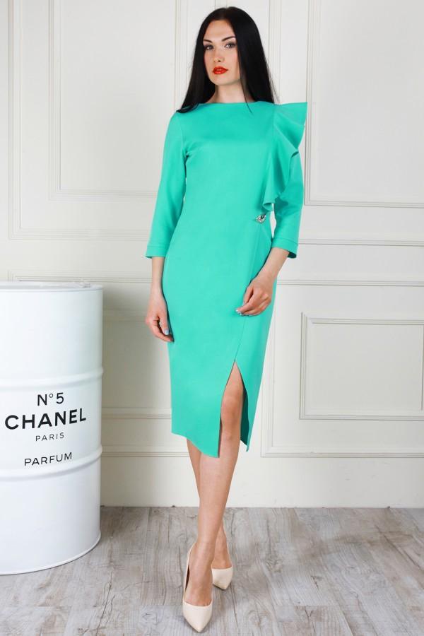 Изысканное мятное платье AL68202 с молнией