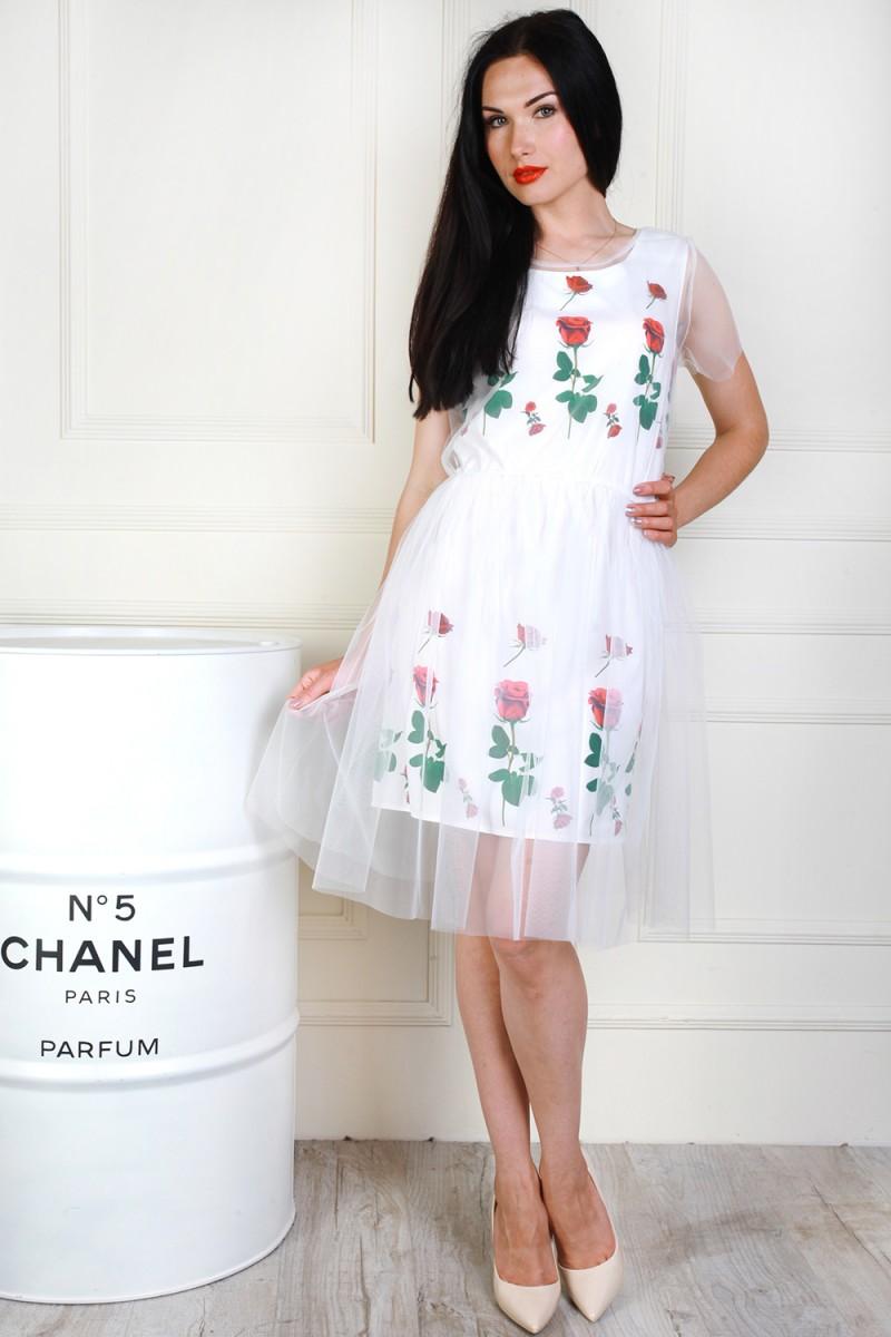 2b7b7b3b57eed3 Купити нарядне біле плаття AL69302 з сіткою недорого з доставкою у ...