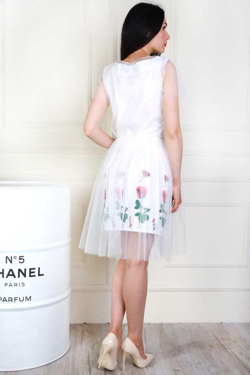 Купити нарядне біле плаття AL69302 з сіткою недорого з доставкою у ... 0ad96b9d4d43b