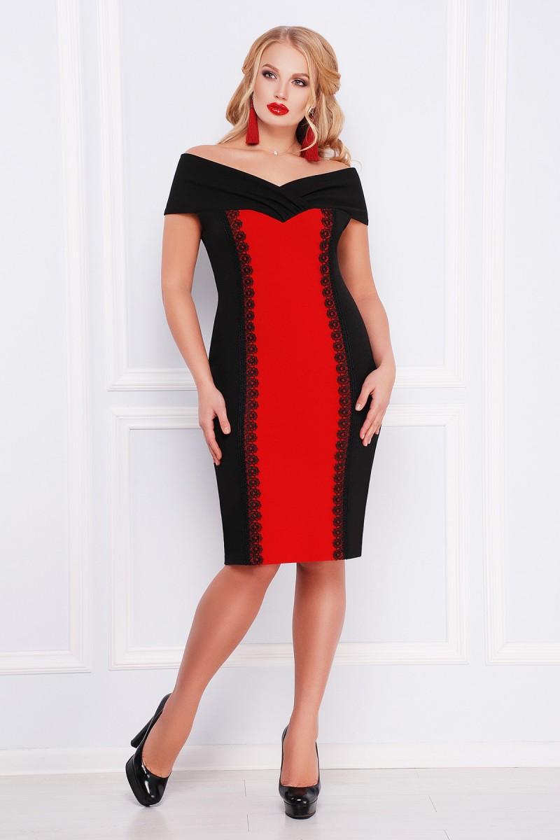 ae2eea83cb1102 Купити плаття великого розміру 2018 Аделина-Б GL000903 червоне з ...