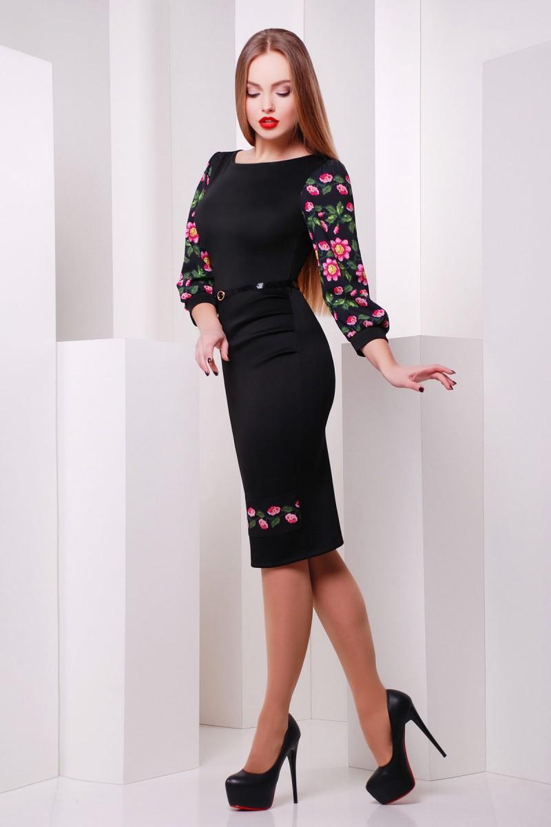 Купити чорне плаття Андора GL614101 з квітами від недорого з ... 43af86abd5358