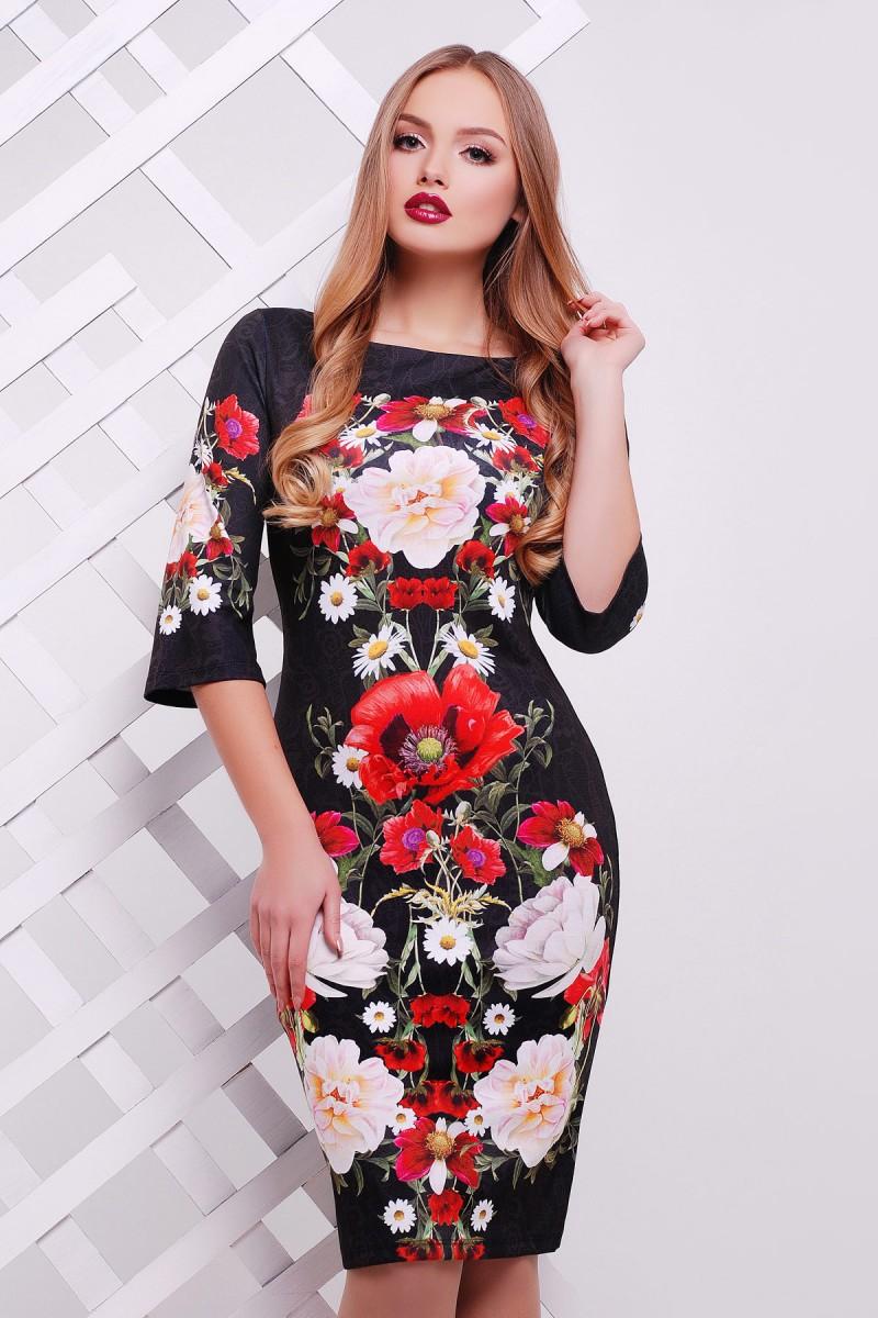 Купити чорне плаття Лоя-3Ф д р GL614401 букет маки від недорого з ... a42f3e0bb3bc4